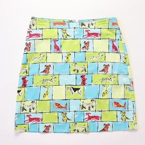 Claude Brown Dog Puppy Animal Print Novelty Skirt